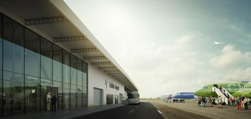 Płyta postojowa lotniska w Lublinie