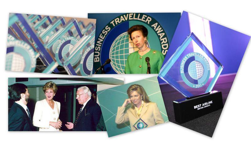 Ceremonie Business Traveller Awards. Po lewej u dołu księżna Diana, u góry księżna Anna, z dołu królowa Jordanii Rania. Fot. Business Traveller