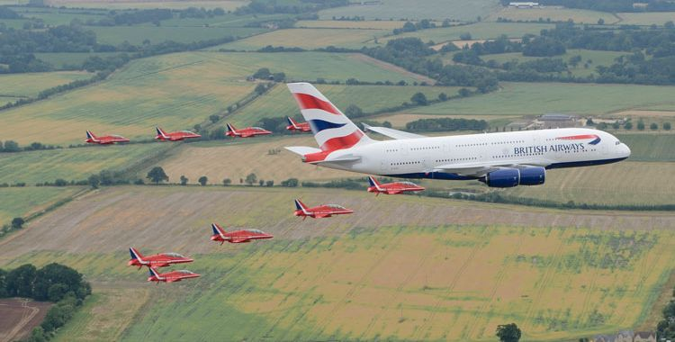 Airbus A380 British Airways w asyście brytyjskich myśliwców. Fot. ba.com