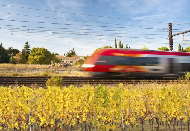 voie ferrée dans les vignes