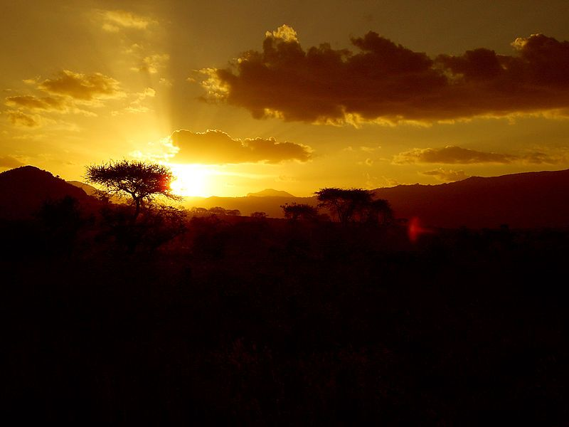 Kenia Yellow_sunset_at_Tsavo_East_National_Park - Wikipedia