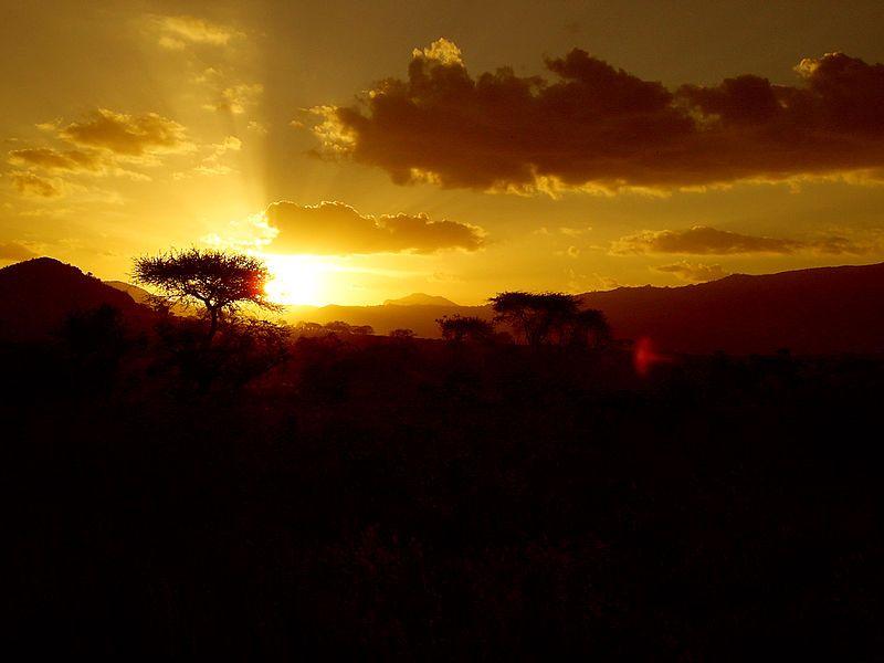 Kenia Yellow_sunset_at_Tsavo_East_National_Park - Wikipedia