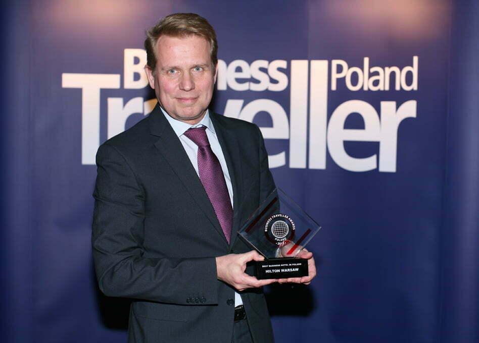 1. Miejsce w kategorii Najlepszy hotem dla biznesu w Polsce. Erwin Verhoog, Hilton Warsaw