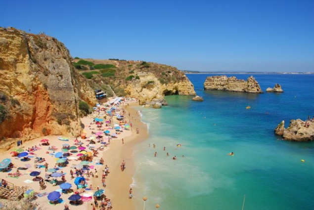 Dona Ana beach, Algarve coast in Portugal
