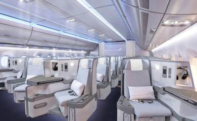 Wnętrze klasy biznes w nowym Airbusie Finnaira. Fot. Finnair