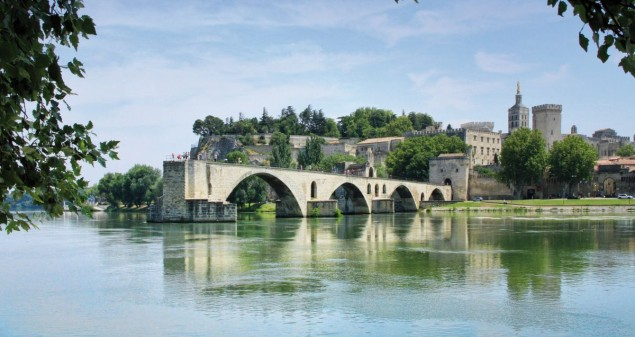 Avignon's bridge and The Popes Palace in Avignon, France
