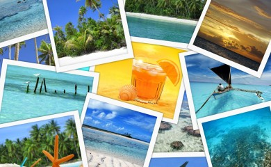collage of tropical destinations