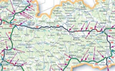 Slowacja, mapa nowych odcinków autostrad