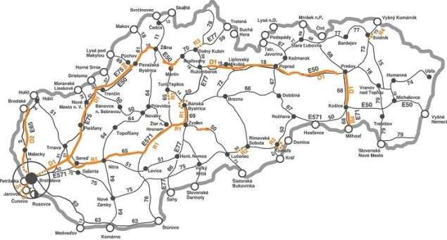 Slowacja, mapa platnych odcinkow drog do 3,5 tony_2015