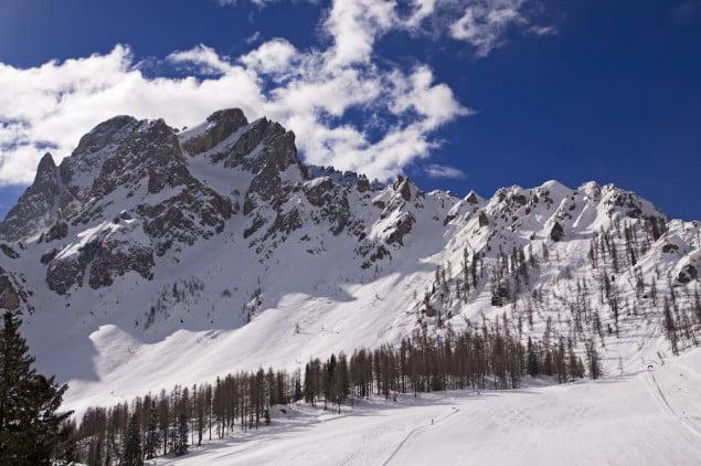 Slope on the Skiing Resort of Sesto (Croda Rossa / Rotwand), Alto Adige, Dolomites Alps, Italy