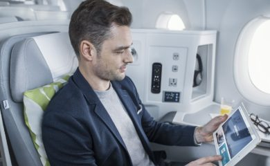 Finnair A350 business class cabin, wifi portal 1