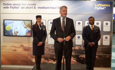 Szefostwo Lufthansy ogłasza nowe usługi. Fot. Lufthansa